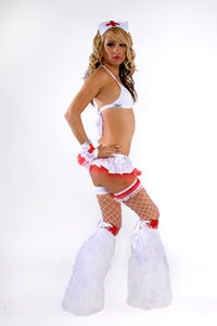 White Naughty Nurse rave outfit