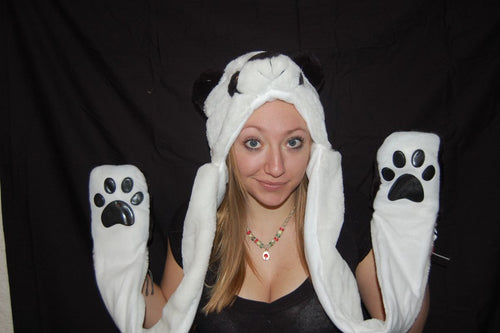 Long Double Sided Animal Hat- Panda