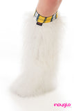 White Fluffy Leg Warmers with School GIrl Yellow Knee Bands