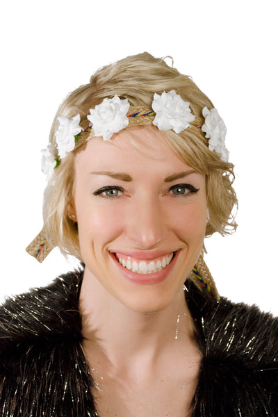 White Silk Flowered Rainbow Flower Crown Headband Model