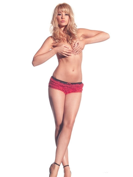 Red Lace Ruffle Hot Pants