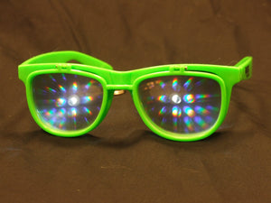 Rainbow Diffraction Vision Sunglasses- GREEN