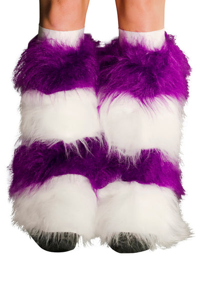 Purple & White Fluffy Boot Covers