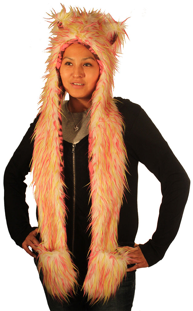 Animal hood White with Pink and Lime Spikes 3