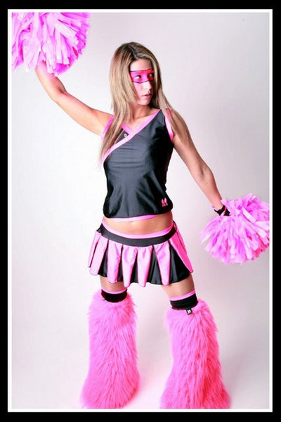 Long Cheerleader Black & Pink Outfit