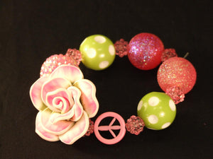 Pink Flower Kandi with Peace Sign