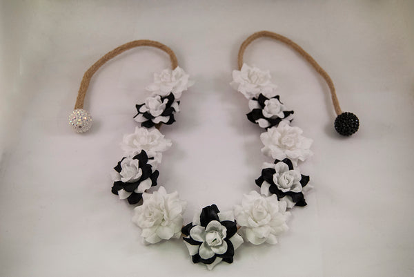 Black & White Flower Crown Headband