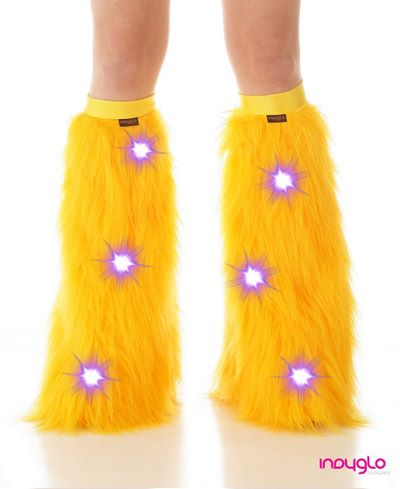 Gold LED Fluffy Leg Warmers