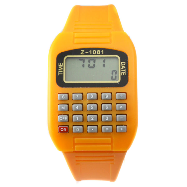 Yellow LED calculator watch