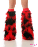 Lyra Furry Leg Warmers Red and Black