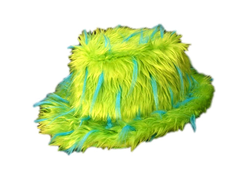 Furry Green Pimp Hat with Blue Spikes