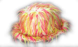 Fluffy White Trilby Hat with Red and Yellow Spikes - White