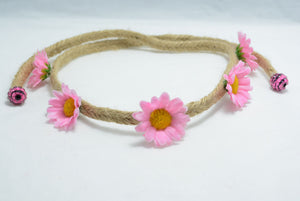 Small pink daisy flower crown