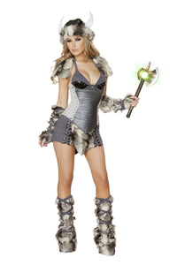 Sexy Snow Viking Halloween Costume Front