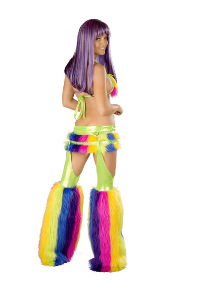 Rainbow Furry Skirt Set