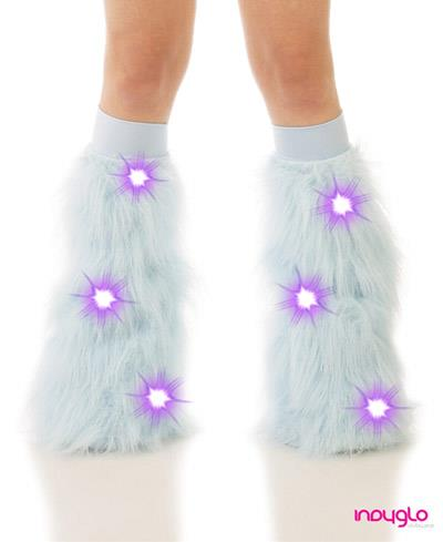 Baby Blue LED Fluffy Leg Warmers