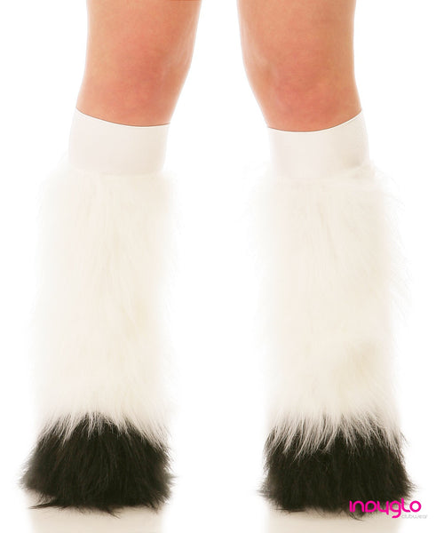 White Fluffy Leg Warmers with Black Tips and White Knee Bands