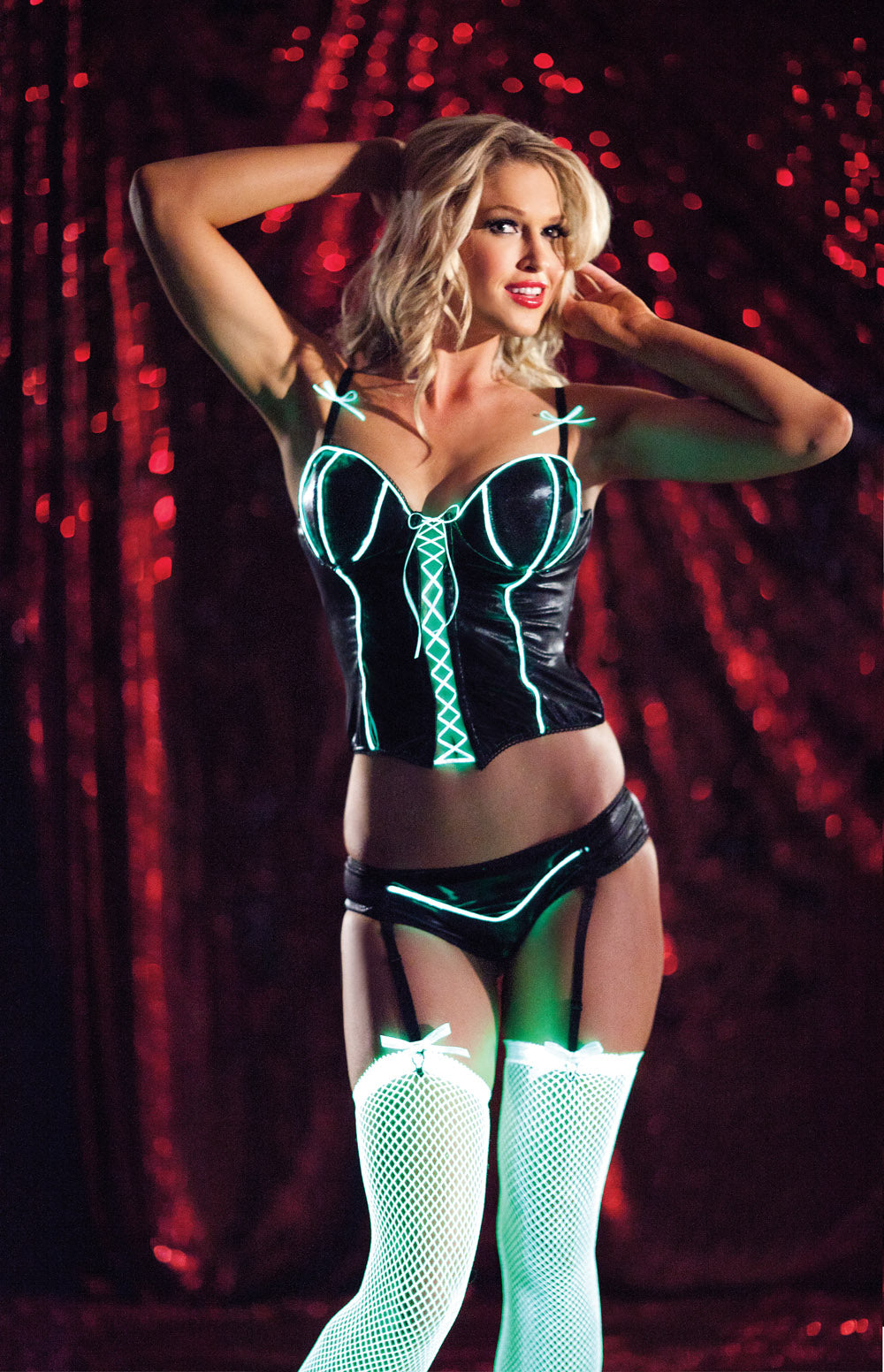 Glow in the Dark Bustier Rave Outfit (UV detail)