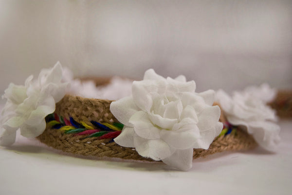 White Silk Flowered Rainbow Flower Crown Headband