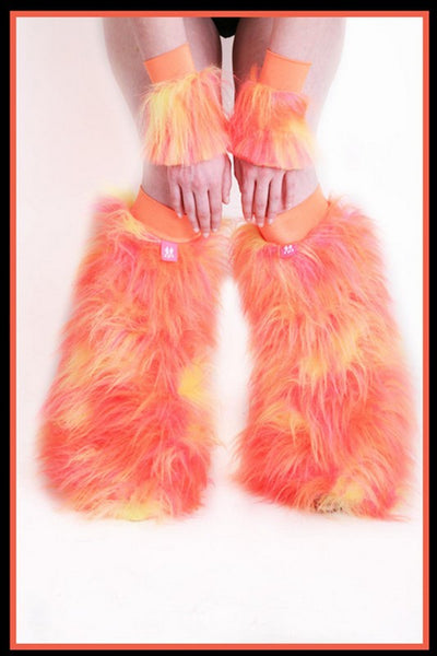 Fluffy Cuff Pink, Yellow, & Orange Set