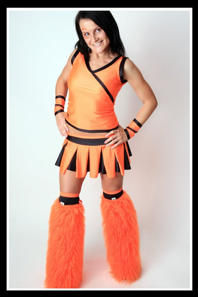 Long Cheerleader Orange & Black Outfit