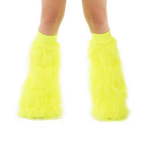 Yellow Fluffy Leg Warmers