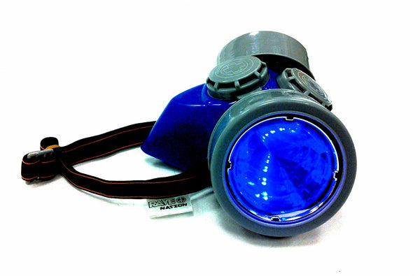 Steampunk Gas Mask - Blue-Grey Frame