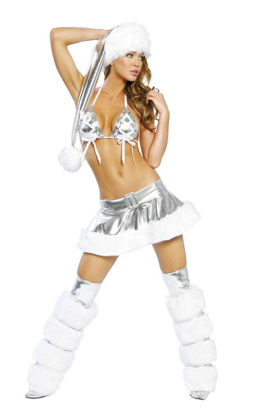 Icicle Skirt Set with Striped Legwarmers and Santa Hat