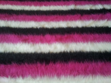 Striped Black, White and Pink Faux Fur