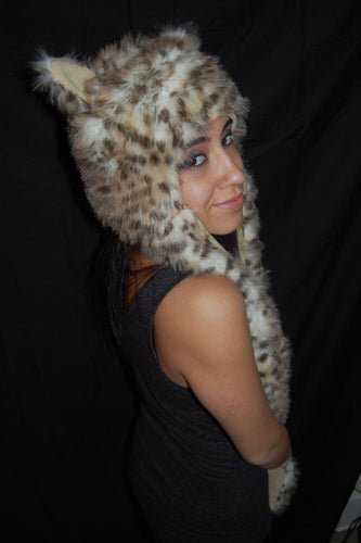 Fuzzy Long Animal Hat- Snow Leopard