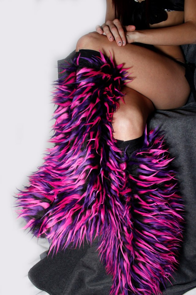 black fluffies with pink and purple spikes