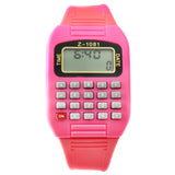 Pink LED calculator watch