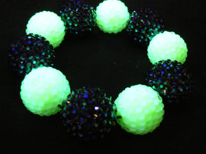 Black and Lime Disco Ball Bracelet