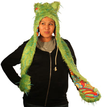 Animal Hood Green fur with Blue Spikes