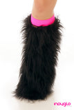 Black Fluffy Legwarmers with Hot Pink Knee Bands