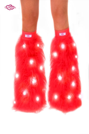 Red LED Furry Rave Leg Warmers