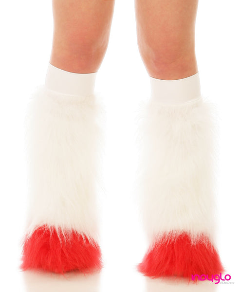 White Fluffy Leg Warmers with Red Tips and White Knee Bands