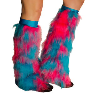 Hot Pink and Blue Fluffies with Blue Kneebands