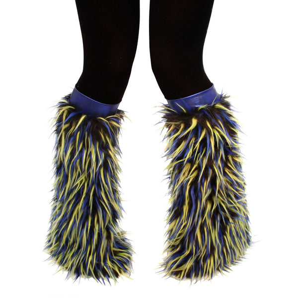 Black Fur with Blue and Green Spike Fluffies Blue Kneebands