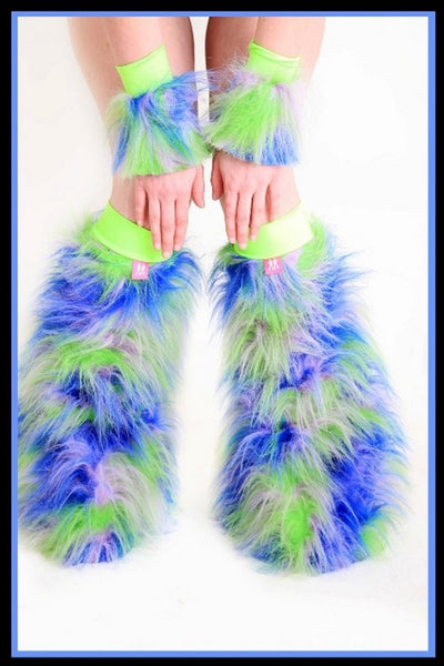 Fluffy Cuff Green, Blue, & Purple Set