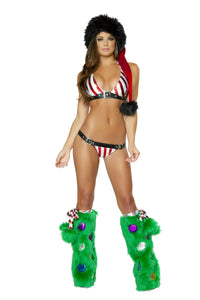 Candy Cane Buckle Bikini Rave Outfit Font