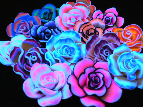 tie dye flower kandi beads in black light