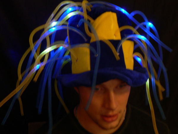 Flashing LED Tentacle Top Hat- Yellow/Blue
