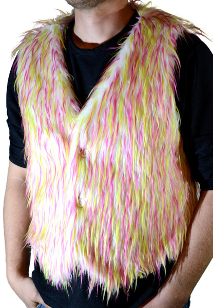 white with pink and lime spike vest