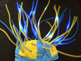 Flashing LED Tentacle Beanie- Yellow/Blue