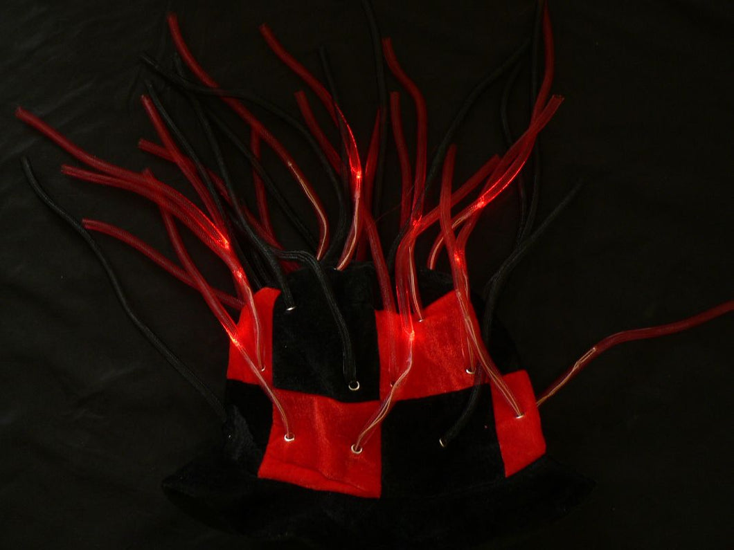 Flashing LED Tentacle Top Hat- Red/Black