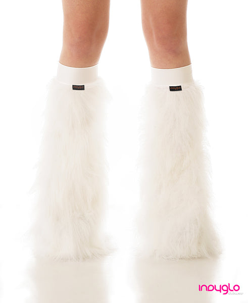 White Fluffy Leg Warmers with White Knee Bands