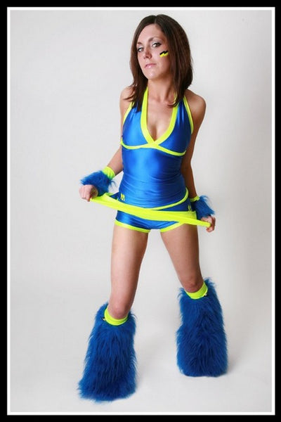 Long Trance Blue & Yellow Outfit