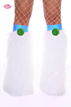 Crazy Daisy Fluffy Leg Warmers- Green Daisy
