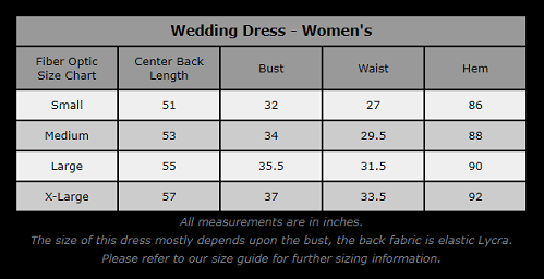 Wedding Dress - Size Chart